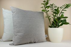 Black and White Stripe Linen Cushion Cover   by LinenandStripes