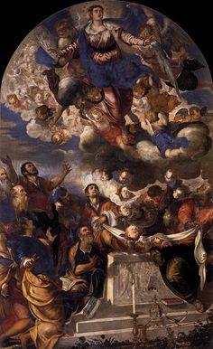 TINTORETTO The Assumption 1555 Oil on canvas, 440 x 260 cm Gesuiti, Venice