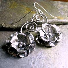 Sterling Silver Flower Rose Dangle Earrings  by LavenderCottage, $119.00
