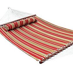 Ollieroo® Fall Camp Hammock Quilted Fabric With Pillow double size spreader bar heavy duty stylish 450 lb Red Stripes