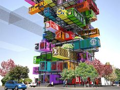 Jenga-Like Hotel Made of Stacked Shipping Containers
