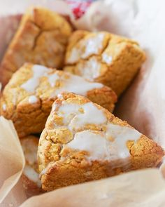 Sweet, cinnamony vegan pumpkin scones made with coconut oil in place of butter. These gluten-free treats are refined sugar-free, dairy-free, and are a healthful alternative to regular scones from the (Pamelas Gluten Free Recipes) Gluten Free Treats, Vegan Treats, Vegan Foods, Dairy Free Recipes, Pumpkin Scones, Pumpkin Dessert, Vegan Dessert Recipes, Baking Recipes, Easy Desserts