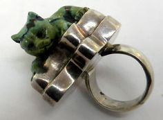 STERLING-SILVER-GREEN-TURQUOISE-CAT-RING