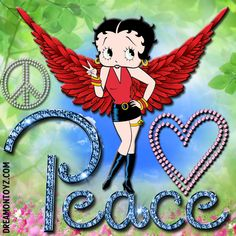 Peace  MORE Betty Boop Images http://bettybooppicturesarchive.blogspot.com/  ~And on Facebook~ https://www.facebook.com/bettybooppictures   Betty Boop with red angel wings, giving the Peace sign on background with flowers and greenery #Greeting