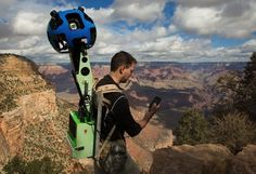 """We told you about the Street View """"trekker"""" a few months ago; the amazing backpack-based camera system for adding Street View imagery from remote locations. Google Street View, Grand Canyon, Bright Angel Trail, Camera Backpack, Maps Street View, View Map, Hiking Trails, Trekking, Finding Nemo"""