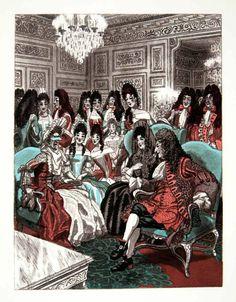 Pierre Brissaud 'The King teases Madame de Thianges' from The Memoirs of Louis de Rouvroy due de Saint-Simon (1959)