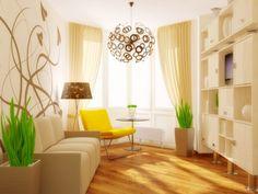 Adesivo de parede moderno, lustre exótico, poltrona amarela.