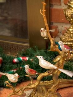 Clip-On Glass Bird Ornaments - Create a fanciful display of vintage clip-on birds by perching them on a glittered branch from the yard! Bird Ornaments, Vintage Christmas Ornaments, Vintage Holiday, Christmas Decorations, Christmas Greenery, Antique Christmas, Christmas Baubles, Tree Decorations, Christmas Town