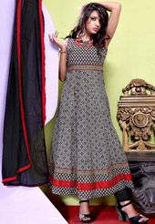 White and Black Cotton Readymade Anarkali Churidar Kameez