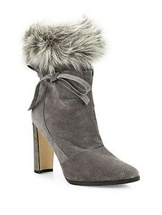 MANOLO BLAHNIK BELEMFU CALF HAIR & AGNELLO FUR BOOTIES. #manoloblahnik #shoes #