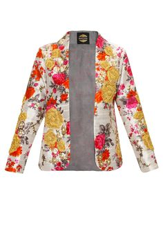 TROPHY JACKETS : Ivory floral print jacket with roses embroidery ..  classy