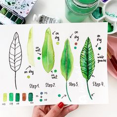 """small tutorial """"Bird of paradise leaf"""" for warming your Monday 🌿🥰Hope you will like it. I've used a new set of """"Currents"""" from Watercolor Journal, Watercolor Painting Techniques, Watercolor Projects, Watercolour Tutorials, Watercolor Drawing, Watercolor Illustration, Watercolour Painting, Watercolor Flowers, Watercolors"""