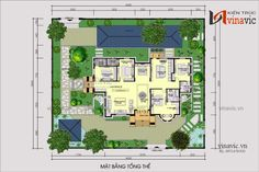 Thiết kế nhà vườn 280m2 4 phòng ngủ mặt tiền 16m ở Hậu Giang BT1804 Latest House Designs, Bungalow House Design, Modern House Plans, Decoration, My Dream Home, House Plants, Garden Design, Floor Plans, How To Plan
