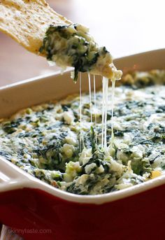 Hot Spinach and Artichoke Dip – make ahead then bake when you're ready to serve, no one will know it's light!