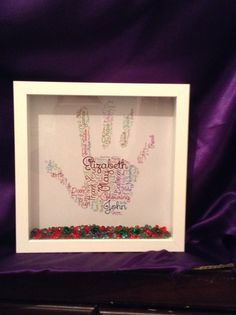 Handprint Gift Personalised Present Idea Teacher Words Word Art Thank You Nursery Crystals Colour Frame