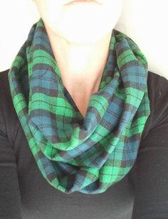 Plaid Infinity Scarf / Blue Green Plaid Scarf / Flannel
