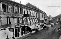 Escolta Street looking east, Manila, Philippines, late Century Street Look, Street View, Intramuros, American War, Pinoy, Vintage Pictures, Old Houses, Old Photos, 19th Century