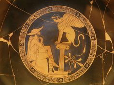 File:Oedipus and the Sphinx of Thebes, Red Figure Kylix, c. 470 BC, from Vulci, attributed to the Oedipus Painter, Vatican Museums (9665213064).jpg
