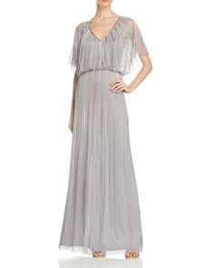 Aidan Mattox Short Sleeve Beaded Blouson Gown - 100% Bloomingdale's Exclusive