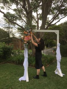 Arbor Flowers, Arch Flowers, in native flowers and wildflowers, protea, rose, roses and eucalyptus in pink, orange at  Manly, Milestone Events by Sydney Wedding Florist, Erichsen Botanica Arch Flowers, Sydney Wedding, Wildflowers, Wedding Flowers, Roses, Events, Orange, Pink, Rose