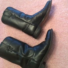 """JUSTIN BOOTS, leather, bought too small, not worn Black Leather, these boots are like new.no scratches, no scars, 10.75 inches from floor to top side of boot including the 1"""" heel (8.5B) Justin Shoes Ankle Boots & Booties"""