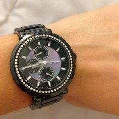 0458b45f791 Women s Fossil Ceramic Watch - CE1009 Black ceramic band with a blue purple  mother-