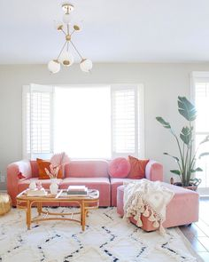 My joybird Logan sectional in Royal blush is giving my family room life! Pink Living Room, Room Design, Pink Living Room Decor, Pink Sofa Living, Apartment Living Room, Apartment Decor, Pink Sofa Living Room, Couches Living Room, Decor Home Living Room
