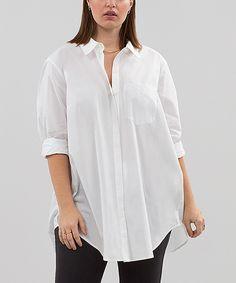 Love this White Deconstructed Button-Up - Plus by RACHEL Rachel Roy on #zulily! #zulilyfinds