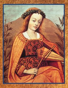 Medieval Lady Playing a Viol ~ A viol was a musical instrument of the Renaissance and baroque periods, typically six-stringed, held vertically and played with a bow.