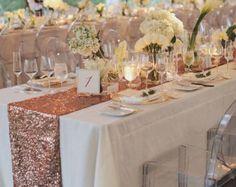 Blush Rose Gold Pailletten Tischläufer und von CandyCrushEvents