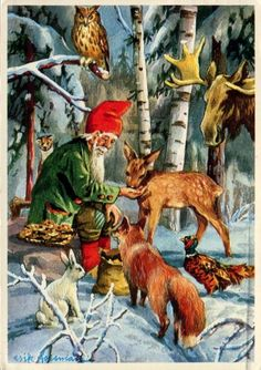 Erik Forsman, Metsäneläinten ruokinta - Huuto.net Christmas Tale, Vintage Christmas, Christmas Cards, Beautiful Forest, Mythological Creatures, Christmas Illustration, Winter Solstice, Christmas Pictures, Beautiful Christmas
