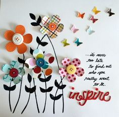 inspire art piece with flowers and butterflies