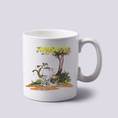 calvin and hobbes playing in the garden mug white 11 oz two sides ceramics