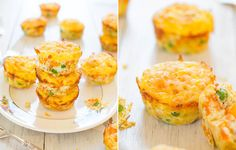 Cheese, Vegetable and Egg Muffins by @averie