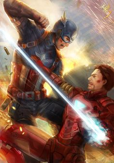 Captain America vs Iron Man civil war and see u in NYCC by jiuge.deviantart.com on @deviantART