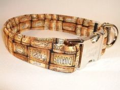 Wine Corks print Dog Collar by Swanky Pet. Wine themed dog collar.