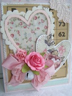 Shabby Look Pretty Hearts Love Card...