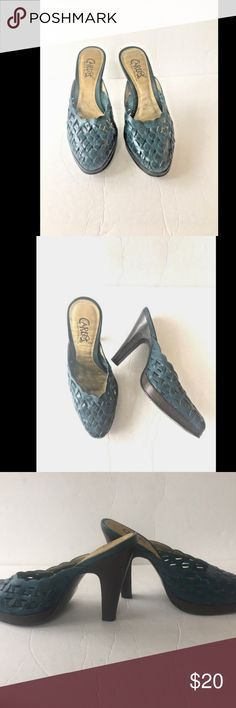 b0d0a35363 Carlos Santana Prententious Mule High Heel Shoe Carlos Santana Prententious  Mule High Heel Shoe Teal Leather