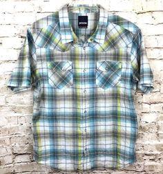 prAna Mens XL Blue Plaid 100% Organic Cotton Shirt Pearl Snap Front Flap Pockets #prAna #SnapFront