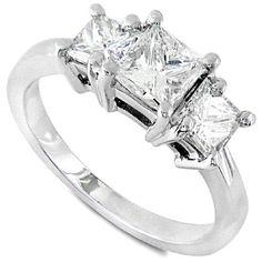Three Stone Princess Cut Diamond Ring