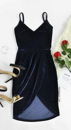 Navy Backless Ruched Velvet Wrap Cami Dress