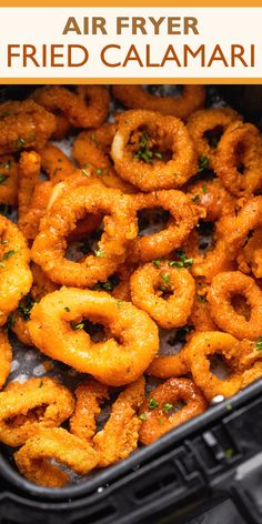 If you love seafood, you've got to try this Easy Air Fried Calamari! Tender calamari rings are marinated in buttermilk, dressed in seasoned flour, and fried crispy with ease in the Air Fryer. Now that's good eating!