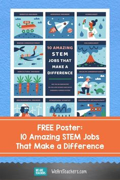 Get this free poster featuring 10 STEM jobs that make a difference, from marine conservationist to environmental engineer. Download it now! Middle School Teachers, Elementary Teacher, Stem Careers, Robotics Engineering, School Hallways, Lesson Plans, Free Printables, Classroom, Teaching