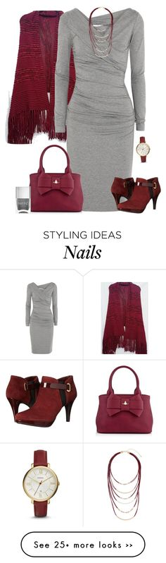 """Burgundy shoes"" by tracy-gowen on Polyvore featuring Diane Von Furstenberg, FOSSIL, Vivienne Westwood, Bandolino, Topshop and Nails Inc."