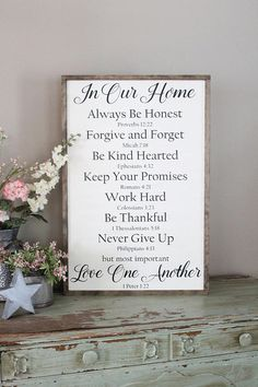 **OUR CURRENT TURN AROUND TIME IS ABOUT 3-5 DAYS. This May Be Extended As We Get Closer To Christmas, Well Keep This Area Updated** This family rules sign with included bible verses is the perfect finishing touch to any home. The large size makes it easily seen as a focal point in