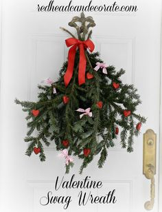 Valentine's Day Swag Wreath…recycle branches from your Christmas tree.