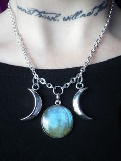 labradorite and crescent moons necklace