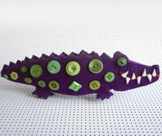 Items similar to Crocodile Pencil Holder on Etsy Pencil Holder, Hello Dolly, Button Crafts, Softies, Needle Felting, Project Ideas, Projects, Button Button, Crocodiles