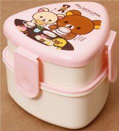 white-pink Rilakkuma bear Bento Box Lunch Box chocolate