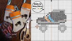 roller derby skate cross stitch pattern